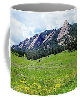 Coffee Mug featuring the digital art Flatirons Of Boulder, Colorado by Joseph Hendrix