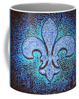 Fleur De Lis - Crystal Blue Ice On Black Coffee Mug