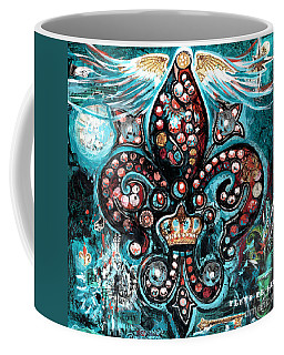 Coffee Mug featuring the painting Fleur De Lis Steampunk Style by Genevieve Esson