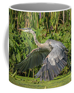 Flight Of The Great Blue Heron Coffee Mug by Cheryl Baxter