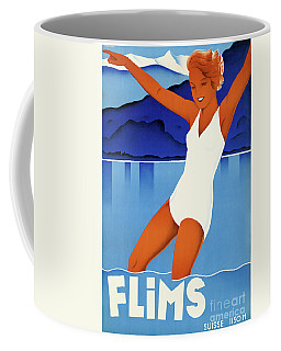 Coffee Mug featuring the mixed media Flims Switzerland Vintage Travel Poster Restored by Carsten Reisinger
