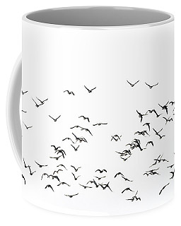 Flock Of Beautiful Migratory Lapwing Birds In Clear Winter Sky I Coffee Mug