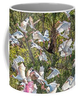Flock Of Mixed Birds Taking Off Coffee Mug