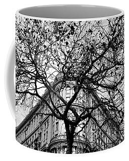 Flood Building - San Francisco - Corner Tree View Black And White Coffee Mug