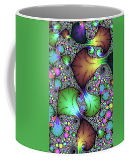 Floral Abstract Fractal Art Green Gold Brown Purple Coffee Mug