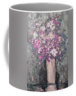 Floral Abstract - Reverse - Modern Impressionist Palette Knife Work Coffee Mug