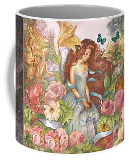 Floral Angel Glamorous Botanical Coffee Mug