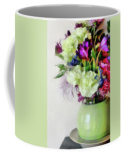 Floral Bouquet In Green Coffee Mug