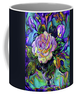 Floral Composition With A White Rose Coffee Mug