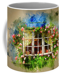 Floral Cottage Window Coffee Mug