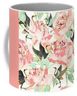 Floral Cranes Coffee Mug