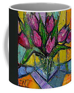 Floral Miniature - Abstract 0615 - Pink Tulips Coffee Mug