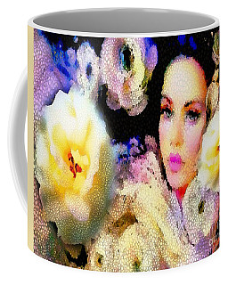 Coffee Mug featuring the painting Floral Mosaic She In Thick Paint by Catherine Lott