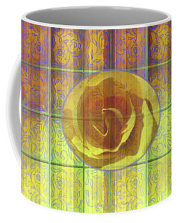 Floral Pattern And Design With Rose Center - Purple And Yellow Coffee Mug by Brooks Garten Hauschild