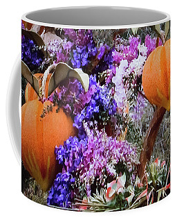 Coffee Mug featuring the photograph Floral Peaches by Linda Phelps