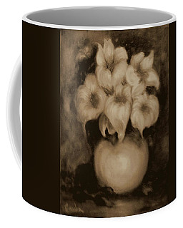 Floral Puffs In Brown Coffee Mug