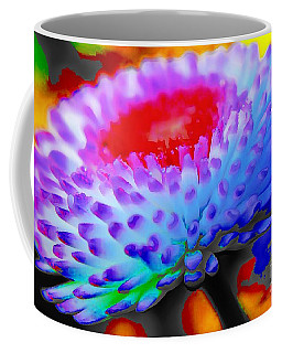 Coffee Mug featuring the painting Floral Rainbow Splattered In Thick Paint by Catherine Lott