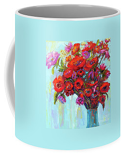 Coffee Mug featuring the painting Red Poppies In A Vase, Summer Floral Bouquet, Impressionistic Art by Patricia Awapara