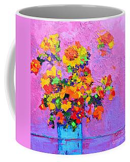 Floral Still Life - Flowers In A Vase Modern Impressionist Palette Knife Artwork Coffee Mug