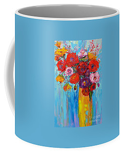 Coffee Mug featuring the painting Wild Roses And Peonies, Original Impressionist Oil Painting by Patricia Awapara