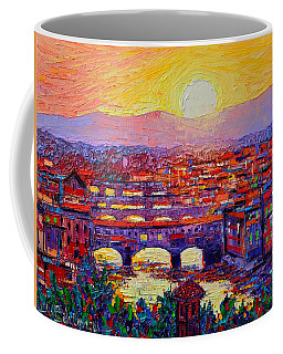 Florence Sunset Over Ponte Vecchio Abstract Impressionist Knife Oil Painting By Ana Maria Edulescu Coffee Mug