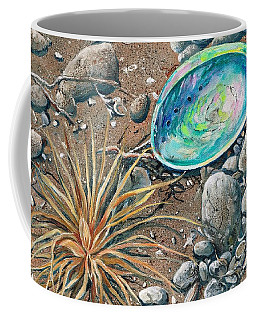 Coffee Mug featuring the painting Flotsam Finds by Val Stokes