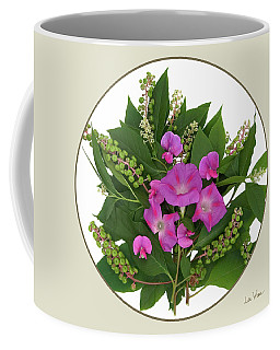 Flower Bouquet And Leaf Series Button Coffee Mug