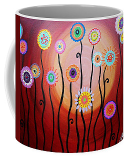 Coffee Mug featuring the painting Flower Fest by Pristine Cartera Turkus