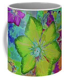 Coffee Mug featuring the mixed media Flower Fire 5 by Lynda Lehmann