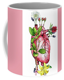 Coffee Mug featuring the mixed media Flower Heart by Heidi Kriel