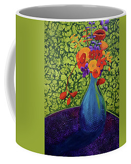 Coffee Mug featuring the painting Flower Power by Nancy Jolley