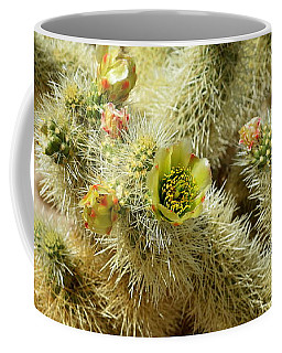 Flowering Cholla Cactus - Joshua Tree National Park Coffee Mug by Glenn McCarthy