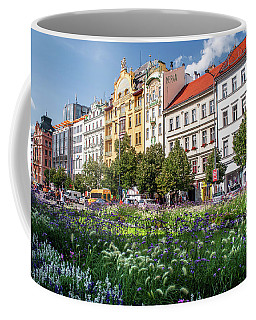 Coffee Mug featuring the photograph Flowering Wenceslas Square In Prague by Jenny Rainbow