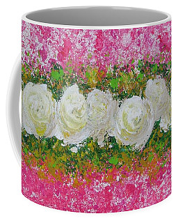 Flowerline In Pink And White Coffee Mug