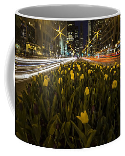 Flowers At Night On Chicago's Mag Mile Coffee Mug