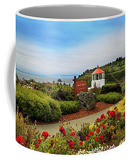 Coffee Mug featuring the photograph Flowers At The Trinidad Lighthouse by James Eddy