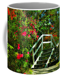 Flowers Bloom Alongside Magnolia Plantation Bridge - Charleston Sc Coffee Mug