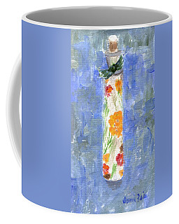 Coffee Mug featuring the painting Flowers In A Bottle by Jamie Frier