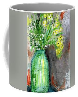 Flowers In A Green Jar- Art By Linda Woods Coffee Mug