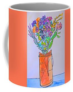 Flowers In An Orange Mason Jar Coffee Mug