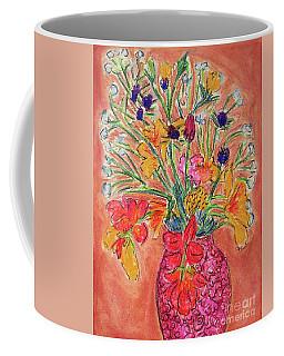 Flowers In Red Vase Coffee Mug