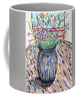 Flowers In Stripped Vase Coffee Mug