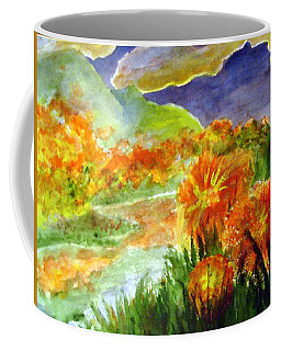 Coffee Mug featuring the painting Flowers On The Mountain by Andrew Gillette