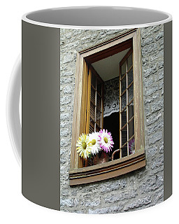 Coffee Mug featuring the photograph Flowers On The Sill by John Schneider