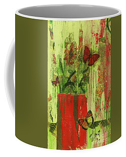 Coffee Mug featuring the mixed media Flowers,butteriflies, And Vase by P J Lewis