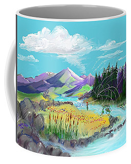 Fly Fishing With Aa Wooly Worm. Coffee Mug
