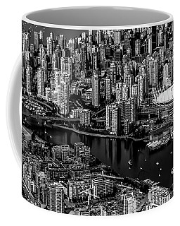 Coffee Mug featuring the photograph Fly Over Vancouver Bandw by Michael Hope