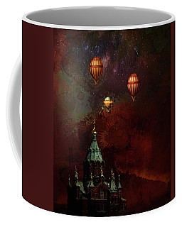 Coffee Mug featuring the digital art Flying Balloons Over Stockholm by Jeff Burgess
