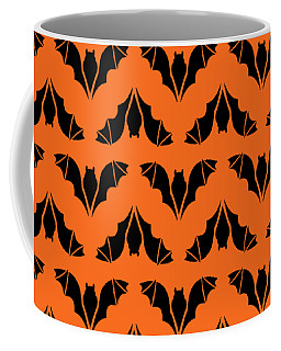 Coffee Mug featuring the digital art Flying Bats Pattern Black by MM Anderson