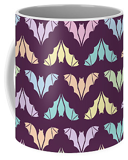 Flying Bats Pattern In Pale Colors Coffee Mug